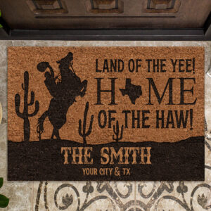 Texas Land Of The Yee Personalized Rubber Base Doormat