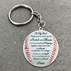 To My Dad Baseball Ball Personalized Wooden Keychain