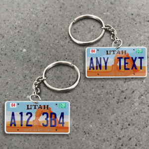 Utah License Plate Personalized Keychain