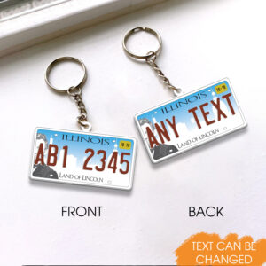 Illinois License Plate Personalized Keychain