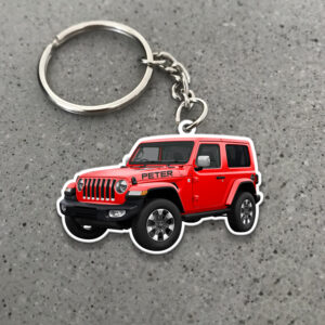 Jeep Lovers Jeep Wrangler 2 doors And Name Personalized Keychain