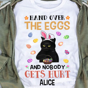 Funny Black Cat Bunny Hand Over Eggs Easter Day Personalized Shirt