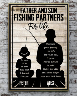 Father And Son Fishing Partners Father's Day Gift Personalized Poster