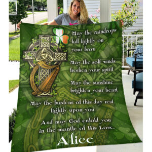 Irish Blessing St. Patrick's Day Personalized Fleece Blanket