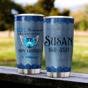 Memorial Blue Rose Personalized Stainless Steel Tumbler