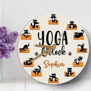 Cat Yoga Personalized Wooden Clock