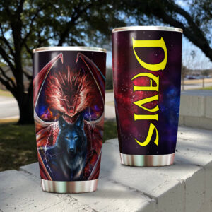 Dragon And Wolf Personalized Stainless Steel Tumbler