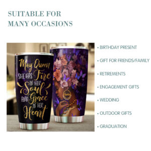 Black Queen Birthday Gifts Personalized Stainless Steel Tumbler