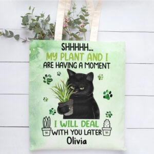 Black Cat Crazy Plant Lady Personalized Tote Bag