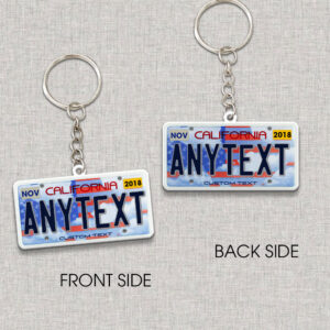 California License Plate US Flag Personalized Keychain