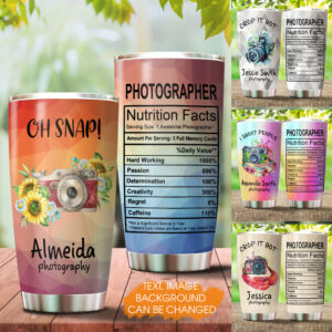 Camera Photographer Nutrition Fact Personalized Stainless Steel Tumbler