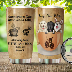 Coffee And Dog Lovers Personalized Stainless Steel Tumbler