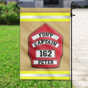 Firefighter's Helmet Front Shield Personalized Garden Flag