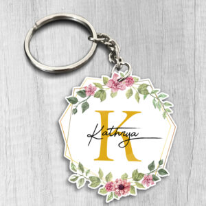 Floral Custom Your Name Personalized Keychain