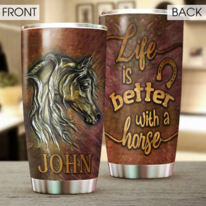 Horse Lovers Horse Art Personalized Stainless Steel Tumbler