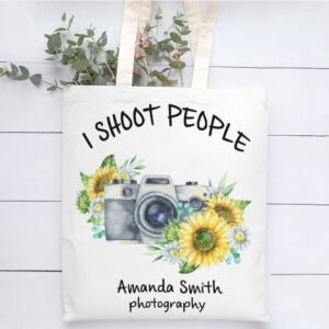 I Shoot People Photographer Personalized Canvas Tote Bag