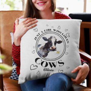 Just A Girl Who Love Cows Personalized Pillow