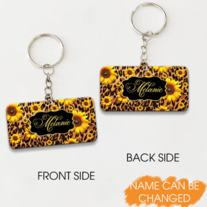 Leopard Texture Custom Your Name Personalized Keychain
