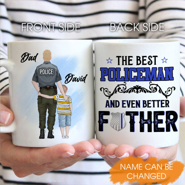 Police Officer And Son Father's Day Gift Personalized Coffee Mug