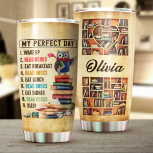 Reading And Owl Lovers Personalized Stainless Steel Tumbler
