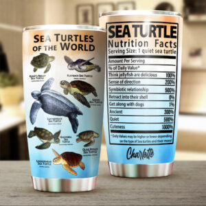 Sea Turtle Nutrition Facts Personalized Stainless Steel Tumbler