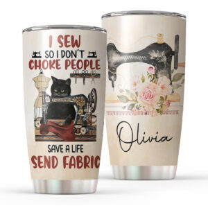 Sewing Black Cat For Sewing Lovers Personalized Stainless Steel Tumbler