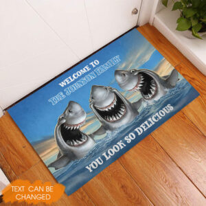 Shark Family Welcome Personalized Rubber Base Doormat