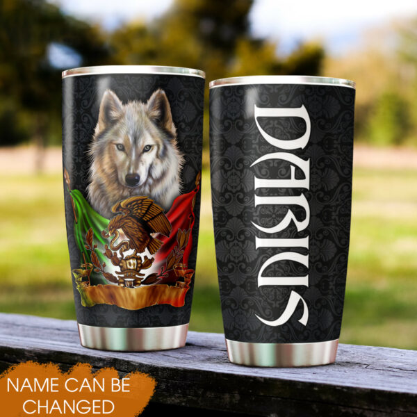 Mexican Grey Wolf Mexican Pride Cinco De Mayo Personalized Stainless Steel Tumbler