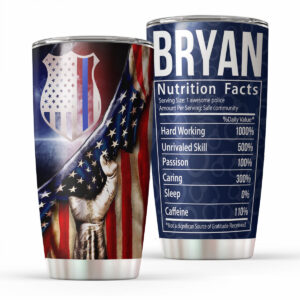 Thin Blue Line Police Nutrition Fact Personalized Stainless Steel Tumbler 2