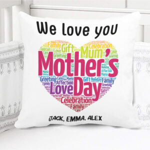 Heart Shaped Words Gift For Mother's Day Personalized Pillow