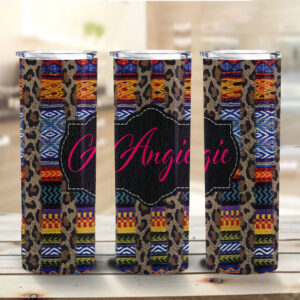 Leopard and Serape Striped Personalized Skinny Tumbler