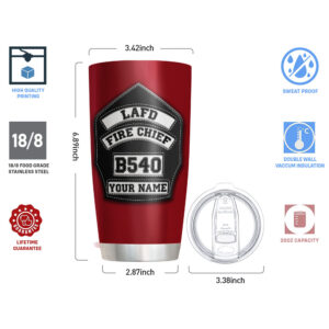 Firefighter's Helmet Front Badge Personalized Stainless Steel Tumbler