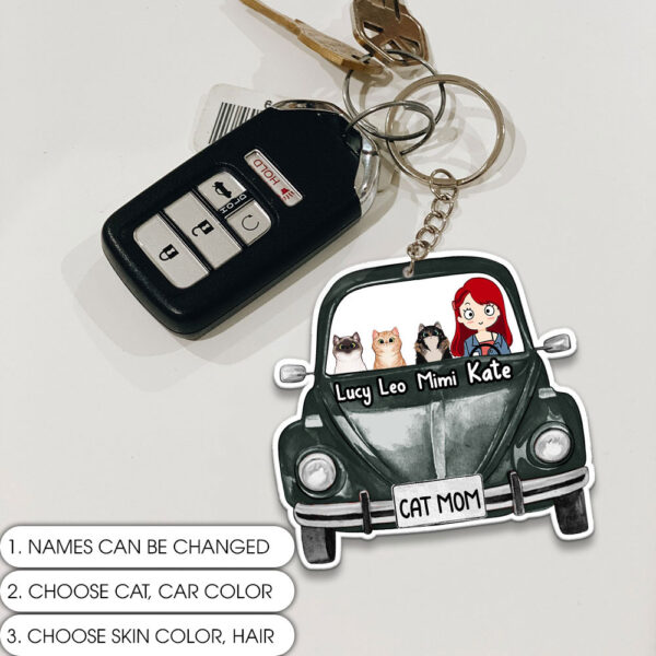 Cat Mom Hippie Personalized Keychain
