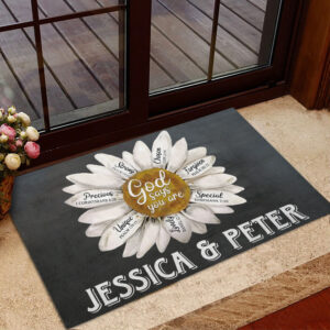 God Says You Are Personalized Rubber Base Doormat