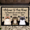 The Human Just Live Here With Us Personalized Rubber Base Doormat